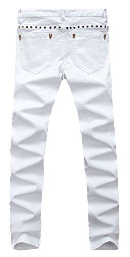 MR. R Men's Fashion Skinny Slim Fit Denim Jeans White 29(Tag size)