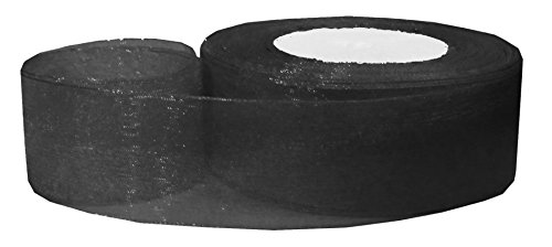 Hipgirl 50 Yard 1.5 Inch Shimmer Sheer Organza Ribbon For Gift Package Wrapping, Hair Bow Clips & Accessories Making, Crafting, Wedding, Boy Girl Baby Shower, Decorating, Parties, Tying Favors--Black