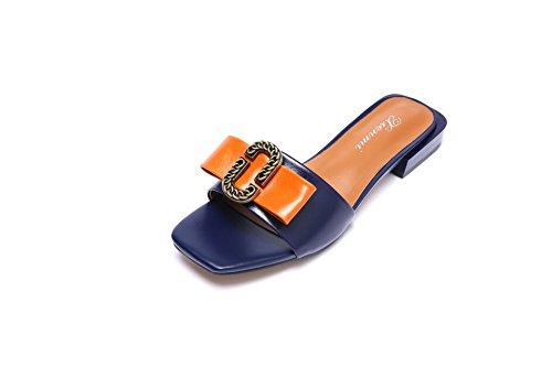 Azul Sandalias Mujer Talón Bajo De Zapatillas qqw67apX