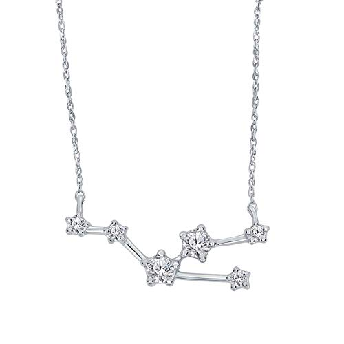 Triss Jewelry 1/5 Cttw Diamond Taurus Zodiac Sign Pendant Necklace For Women in Sterling Silver