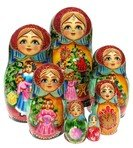 Christmas Joy 7 Piece Babushka Matryoshka Russian Stacking Nesting Doll