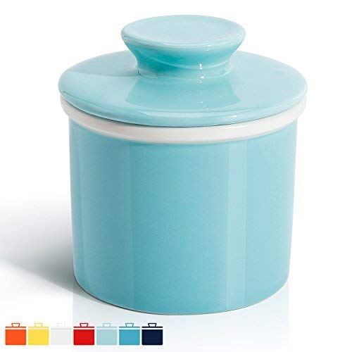 - Sweese 3109 Porcelain Butter Keeper Crock - French Butter Dish - No More Hard Butter - Perfect Spreadable Consistency, Turquoise