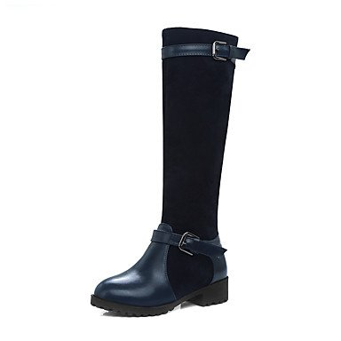 Mujer Rodilla Hebilla Botas De De 5 Zapatos Invierno Botas RTRY US7 Moda Marrón Azul Redonda Botas UK5 5 Botas Oscuro CN38 Casual Puntera Negro Polipiel Montar De Altas EU38 xEwT6