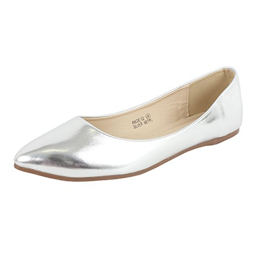 Bella marie Angie-52 Women's Classic Pointy Toe Ballet PU Slip On Flats Silver 8.5
