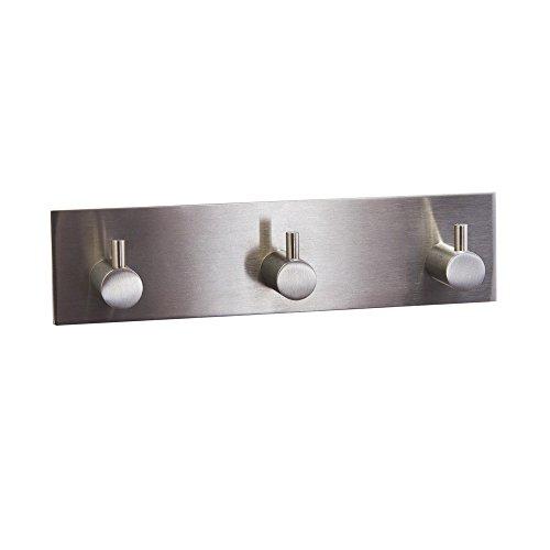 Interior Solutions Self Adhesive Coat Holder Robe Hook with 3 hooks Bathroom Lavatory Towel Holder Rack/Rail with 3 Hooks,304 Stainless Steel,Brushed Finish AC8203