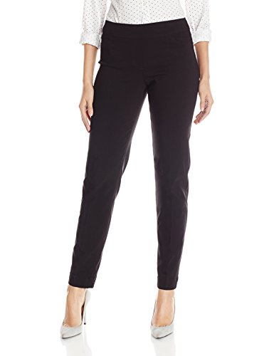 SLIM-SATION Women's Wide Band Regular Length Pull-On Straight Leg Pant with Tummy Control, Black, 14