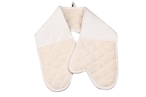 Heat Resistant to 500° F Oven Mitt, Extra Long Professional Grade All-In-One Potholder Gloves, Cotton Stripe Quilted Double mitts,Hand Towel,Machine Washable 35 INCH