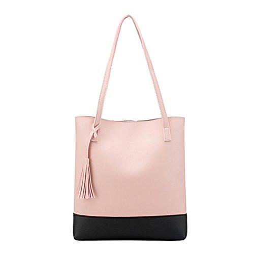 YJYDADA Fashion Women Tassels Messenger Bag Shoulder Bag Hangbag Bucket Bag (Pink) (Louis Bucket Vuitton)