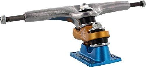 Gullwing Sidewinder II 185mm Hi Silver / Orange / Blue Longboard Trucks - 10'' Axle (Set of 2) by Gullwing/ Sector 9