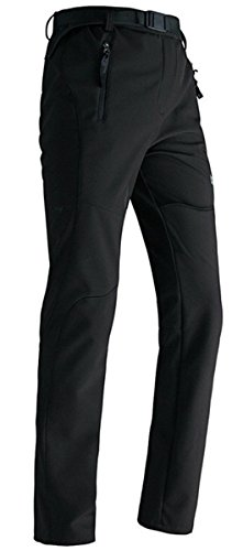 Lanbaosi Women's Sport Warm Trekking Fleece Inside Softshell Pants Black Size L: Waist 31