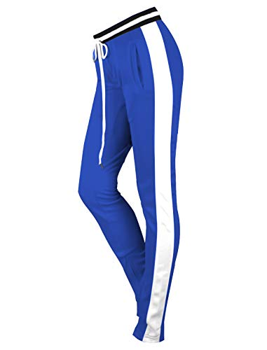 - SCREENSHOTBRAND-L81700 Womens Hip Hop Premium Slim Fit Track Pants - Athletic Jogger Bottom with Side Sports Taping-Royal-Medium