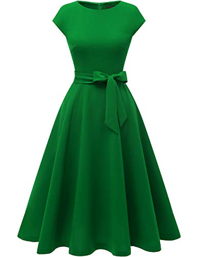 DRESSTELLS Women's Cocktail Party Dress Bridesmaid Swing Vintage Tea Dress with Cap-Sleeves Green M