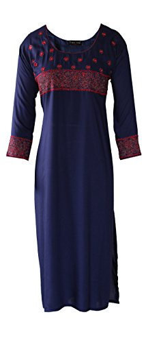 AzraJamil-Beguiling-Blue-Cotton-Embroidered-Kurta-Navy-Blue