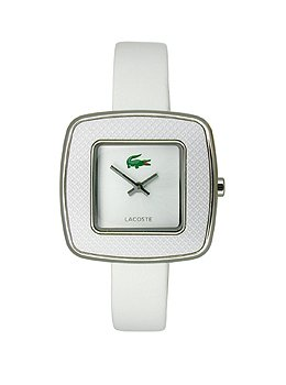 Lacoste Manila Two-Hand Silver and White Leather Women's watfch #2000748 by Lacoste
