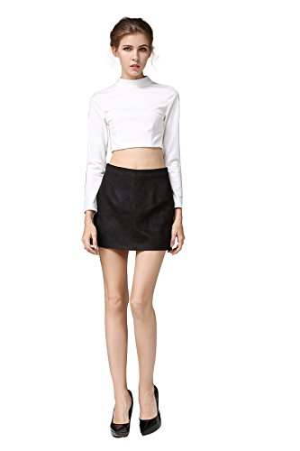 Little Smily Women's A-line High Waist Faux Suede Mini Skirt, Black, S ()