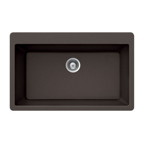 Houzer V-100 MOCHA Quartztone Series Granite Top Mount Large Single Bowl Kitchen Sink, Mocha (Mocha Kitchen Sink)