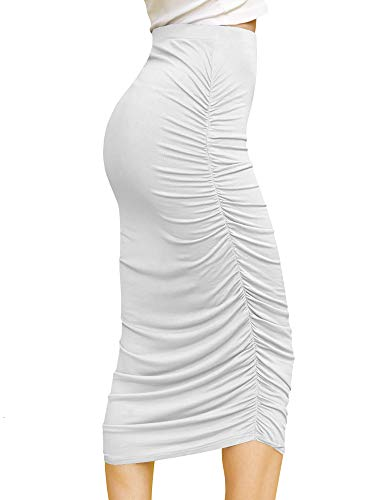 Made By Johnny WB1147 Womens Elegant High Waist Pencil Skirt with Side Shirring XL White (Long Tight Skirt)