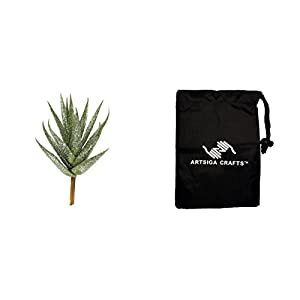 Darice Artificial Flowers Succulents Aloe Glitter Green 5in. (12 Pack) 30013154 Bundle with 1 Artsiga Crafts Small Bag 117