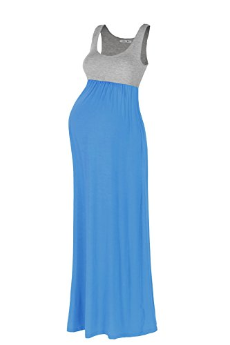 Beachcoco Women's Maternity Contrast Maxi Tank Dress Made in USA