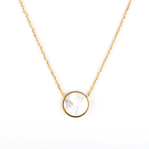 United Elegance Gold Tone Designer Necklace with Arctic White Faux Mother-of-Pearl Circular Geometric Pendant - Mother Of Pearl Circular Earring