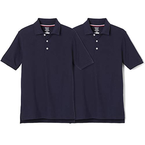 French Toast Boys' Big Short Sleeve Pique Polo Shirt, Navy, M (8)(Pack of 2)