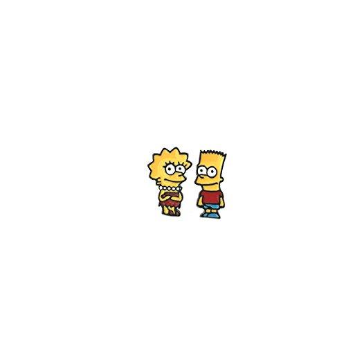 (The Simpsons Bart & Lisa Logo Comics Cartoon Post Stud Earrings In Gift)