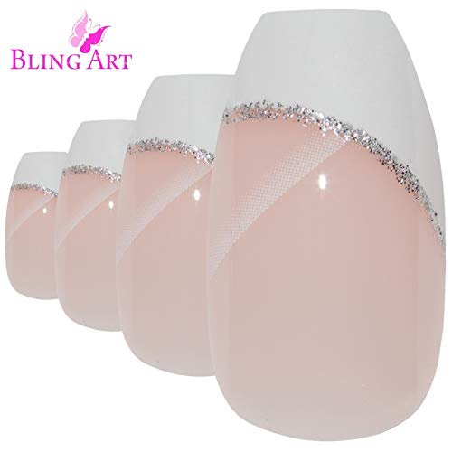 (Bling Art Ballerina False Nails Fake Coffin Polished White 24 French Long Tips)
