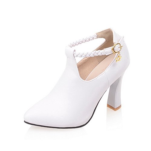 BalaMasa Ladies Ankle Cuff Studded Rhinestones Metal Buckles Blend Materials Pumps-Shoes White RY2gHd