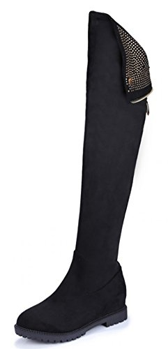Comfy Faux Heels The Black High Boots Booties Womens Suede Knee IDIFU Over Long Low Chunky TxXAwnp