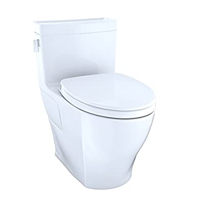 TOTO MS624124CEFG#01 Legato Washlet+ One-Piece Elongated 1.28 Gpf Universal Height Skirted Toilet with Cefiontect, Cotton White