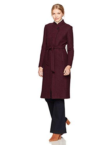 Cole Haan Women's Textured Wool Molded Collar Coat With Self Belt, Bordeaux, (Textured Wool Coat)