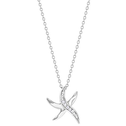 """925 Sterling Silver Starfish Nautical Vacations Pendant Necklace for Ladies 17"""""""