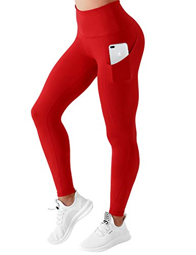 BUBBLELIME High Compression Yoga Pants Out Pocket Running Pants Moisture Wicking UPF30+ Nylon Span, Scarlet Cross Pockets, Large(26