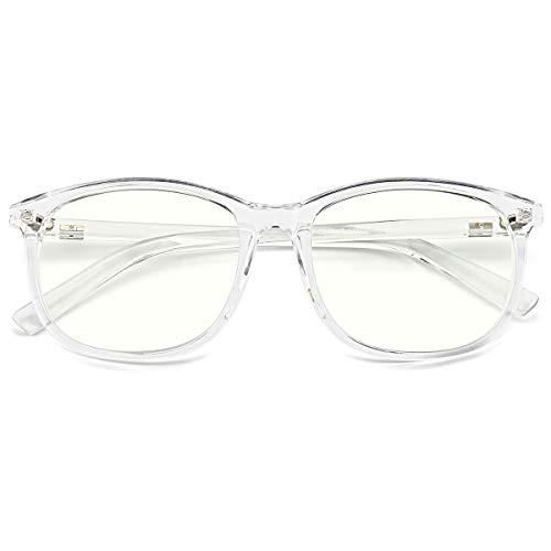 Slocyclub Unisex Blue Light Blocking Glasses Oversized Non-prescription Glasses Round Clear Lens ()