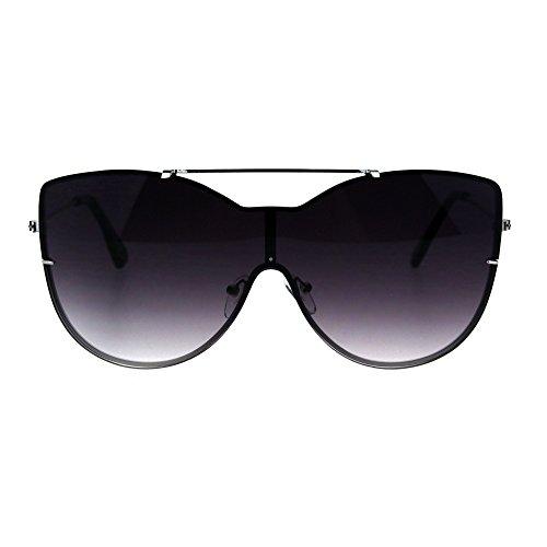 Womens Rimless Butterfly Oversize Diva Metal Rim Sunglasses Silver Smoke
