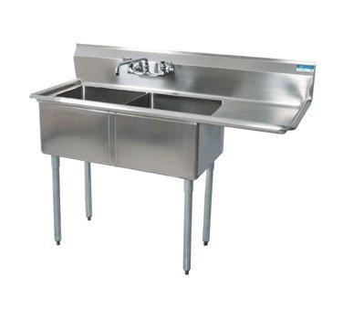BK Resources Stainless Steel Two Compartment NSF Sink With 18'' Right Drainboard