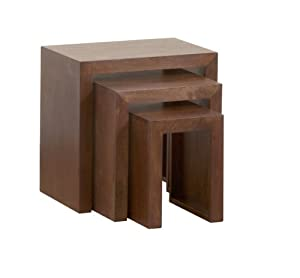 Homescapes Dakota Nest of 3 Tables Dark Solid Mango Wood Living