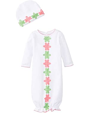 Baby-Girls Newborn Daisy Crochet Sleep Gown with Hat Set