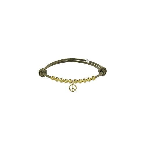 Les Poulettes Bijoux - Bracelet Médaille Peace and Love et Perles Plaquées Or -Lien Kaki