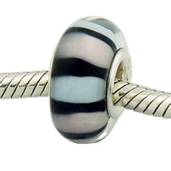 Cotton Candy Bead .925 Silver Murano Glass Charm for (Candy Stripes Murano Glass)