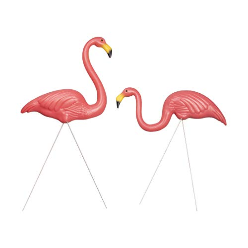 (And Bird Plastic Flamingos Yard Ornament -Set of 2 - Flamingo Lawn Ornaments,Flamingo Garden Yard w/Stakes, for Home and Outdoor Decor, Party Decor, Adjustable Feet)