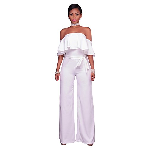 Woman Sleeveless Ruffled Lace Jumpsuits (White) - 1