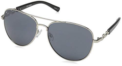 (Steve Madden Women's Sm482163 Aviator Sunglasses, Black, 57 mm)