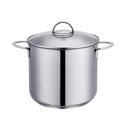 (Mr Rudolf 8 Quart 18/10 Stainless Steel 2 Handle Stock Pot with Glass Lid Dishwasher Safe PFOA Free Stockpots Casserole 24cm 8 Liter Dutch Oven )