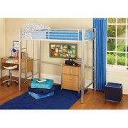 [metal loft twin bed, silver great for dorms!] (Metal Dorm Loft Beds)