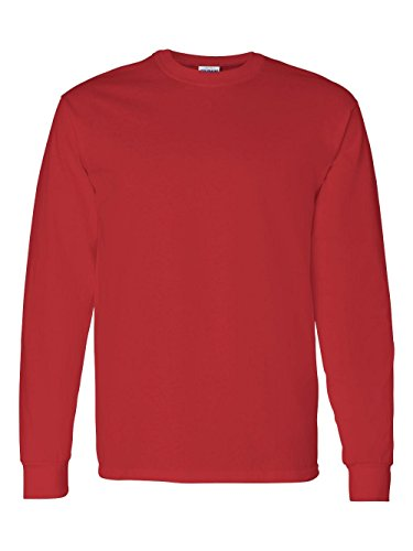 - Gildan mens Heavy Cotton 5.3 oz. Long-Sleeve T-Shirt(G540)-RED-XL