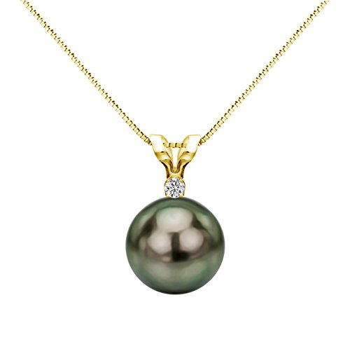 14k Yellow Gold 1/20cttw Diamond 9-9.5mm Round Black Tahitian Cultured Pearl Pendant Necklace, 18