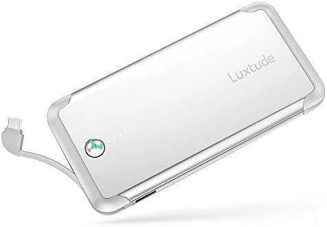 Luxtude Bateria Externa para Movil 10000mAh, Powerbank de Carga Rapida con Cable Tipo C Incorporado, Cargador Portatil Movil Carga Rapida para ...
