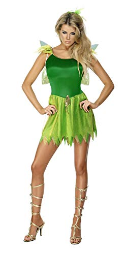 Smiffys Women's Woodland Fairy Costume, Dress, Headpiece and Wings, Wings and Wishes, Serious Fun, Size 6-8, -