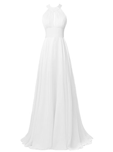 Alagirls Long Halter Chiffon Bridesmaid Dress Sexy Backless Prom Dress Ivory US26Plus (Big Poofy Dresses)